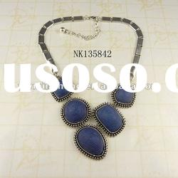 fashion design resin stone pendant wholesale necklace plated silver
