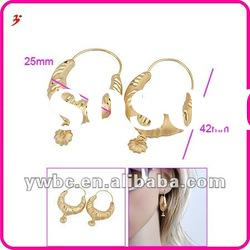 good price hot sell gold plated basketball wives bamboo hoop earrings (E630637)