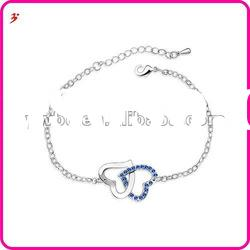 hot sale silver alloy crystal heart shape bracelets(B101154)