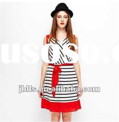 ladies black and red striped long skirts