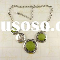 latest design zinc alloy resin stone cable chain necklace plated silver