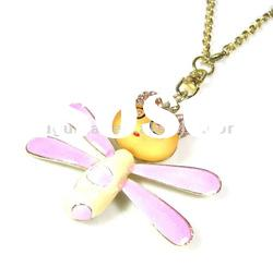 pink color bee shape pendant necklace with diamond