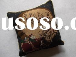 polyester and cotton yarn dyed christmas european style jacquard cushion