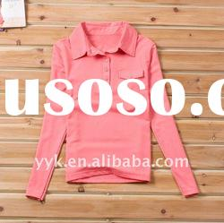 women's long sleeve dark pink polo t shirts