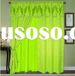 100% polyester yarn dyed (cation)jacquard window curtain with fashion valance,taffeta liner
