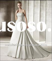 2012 High Quality Empire Lace Appliqeud Satin Wedding Gown HL-WD2802