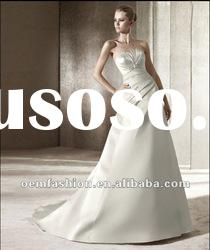 2012 High Quality Empire Lace Appliqeud Silver Satin Wedding Dress HL-WD2801