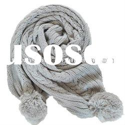 2012 New design Knitted Plain Hat Scarf sets