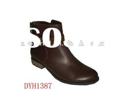 2012 fashion women winter ankle boots flat boots with belt on