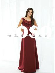 2012 latest style V-neckline off shoulder taffeta evening dress with belt CBE10955
