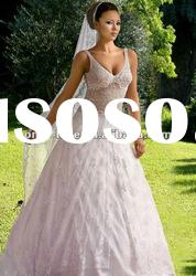 2012 new coming sleeveless V-neckline lace applique wedding dress OLW1446