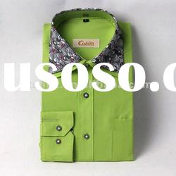2012 new design solid color double collar shirts for men