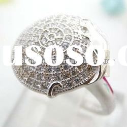 2012 newest fashion hot sale superior wax micro pave setting 925 silver ring jewelry (R15028)