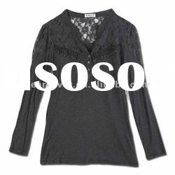 2012 spring new style fashion lace long sleeve polo shirt for ladies