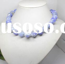 30% OFF! 16mm faceted blue fire Agate round beads necklace gem best gift !