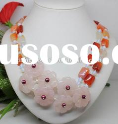 30% OFF! 2 rows multicolor jade beads with the pink flower for necklace,about 30''