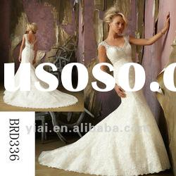 BRD336 Beaded Cap Sleeves Lace Mermaid Wedding Dress