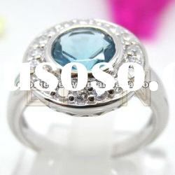 Costume fashion 925 sterling silver pendant jewelry (R5696) in sky-blue CZ center
