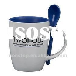 Espresso ceramic mug with spoon