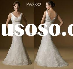 FW3332 2012 Hot Sale V Neck Sleeveless Lace Wedding Dress
