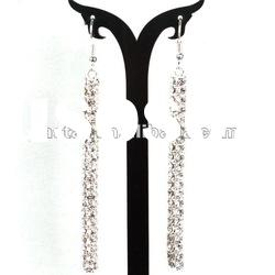 Fashion Silver Long Crystal Earrings