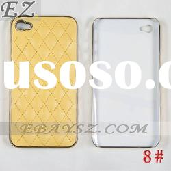 Free Shipping New Arrival Leather Case For iPhone 4 Black/White/Pink/Blue/Yellow/Orange LF-0211