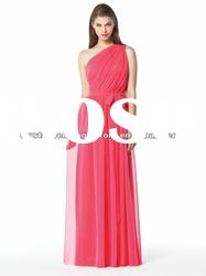 Free shipping hot pink chiffon floor length girl one shoulder bridesmaid dresses CWFab4361