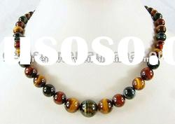 GN066 Natural colorful Tiger eye stone round beads necklace