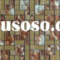 Gold foil mix anaglyph and crystal glass mosaic tile