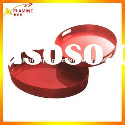 HOT SALE red solid color round melamine tray with handle
