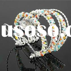 Hot Selling Lady Stainless Steel Wrist Watch Bracelet with colorful beads