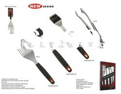 Novelty design 4pcs rubber handle BBQ tool set in color window box