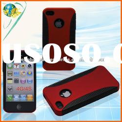 PC+TPU Cover For Apple Iphone 4G 4S Combo Red&Black Hybrid Phone Case