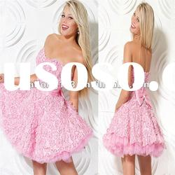 Pretty Sweetheart Short Rhinestone 3d Flowers Pink Party Dress