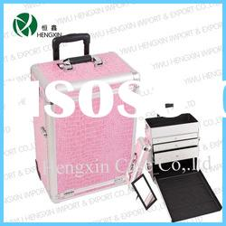 Professional rolling trolley Makeup Artist Train Cosmetic Case with Drawers