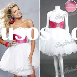 Sweetheart A-line Organza natural waist with Beaded real prom dress prom dress short