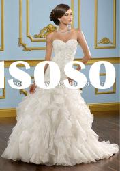 Sweetheart lace top tiered organza wedding dresses