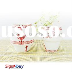 The Tang Costume Style Ceramic Cup(White-Happiness), Ceramic Coffee Cup, Artistic Ceramic Cup
