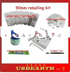 bga reballing kit which includes 90mm reballing station, stencils, flux, solder balls
