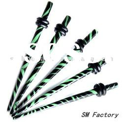 ear stretcher green black zebra acrylic earring taper gauge expanders body piercing jewelry-SMEP057