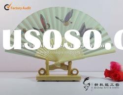 high quality fabric bamboo hand fans as gift