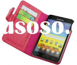 hot pink LEATHER pouch case for SAMSUNG GALAXY NOTE N7000 i9220
