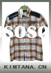 mens fashion cotton check shirt short sleeve