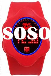 red strap LED watch,LED watch with dragon decor,PU wrist watch at factory price