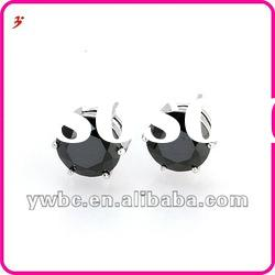 wholesale fashion black zircon brass stud earrings (E630694)
