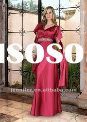 2012 Elegant Cap-sleeve Satin Long Mother Of The Bride Dress (ABB117)