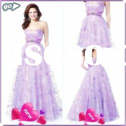 2012 New Cheap Beautiful Sweetheart Sheath Beaded Ruffle Tulle Satin Discount Lowes Prom Dress