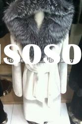 2012 fashion white rex rabbit fur coat with silver fox shawl cap
