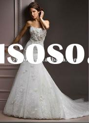 2012 new style hand made flower with lace sweetheart Exquisite Bridal Wedding Dress