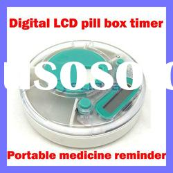 Digital lcd medicine pill box reminder timer pill case timer